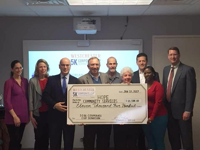 Corporate Sponsors Present Donation to Hope Community Services Raised from the Westchester Corporate Cup 5K Summer Race Series
