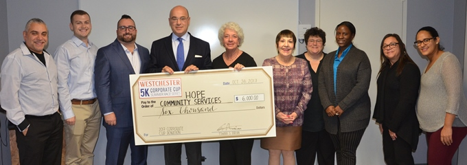 Westchester Corporate Cup Sponsors present donation to Hope Community Services