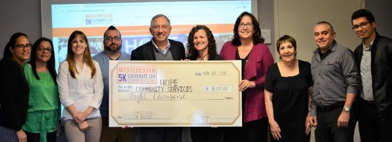 Westchester Corporate Cup Races 2018 Donation Check Presentation. 2018 Corporate Sponsors and Race Participants
